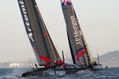 SAN FRANCISCO, CA - OCTOBER 4: Artemis White and Ben Ainslie Racing competes in the America'??s Cup