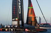 SAN FRANCISCO, CA - OCTOBER 4: Oracle Team USA skippered by James Spithill crosses the finish line in the America's Cup World Series sailing races in San Francisco, CA on October 4, 2012