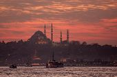 Suleimanie Mosque in Istanbul at dusk