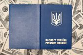 International Ukrainian passport on US dollars background