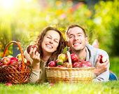Happy People Eating Organic Apples in Autumn Garden.Healthy Food.Outdoors.Park. Basket of Apples.Har