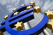 FRANKFURT, GERMANY - AUG 23: The Famous Big Euro Sign at the European Central Bank on August 23, 201