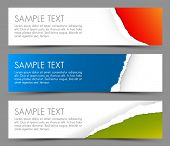 Simple colorful horizontal banners - with torn away corners