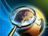 The Earth analyzed under a magnifying glass, with focus on Europe. Digital illustration, elements of