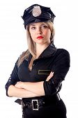 Woman police isolated on white