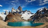 stock photo of andes  - Laguna de Los Tres and mount Fitz Roy - JPG
