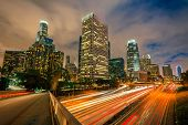 stock photo of intersection  - Downtown of Los Angeles at night - JPG