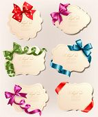 stock photo of bowing  - Set of beautiful retro labels with colorful gift bows with ribbons - JPG