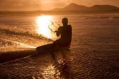 Kite Surfer, Ocean  And Sunset