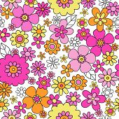 Flowers Seamless Pattern Psychedelic Groovy Floral Flower Power Notebook Doodle Design- Hand-Drawn V