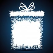 Christmas gift box, snowflake design background.