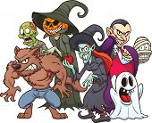 stock photo of halloween characters  - Halloween monsters - JPG