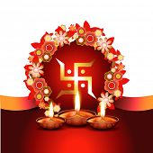 image of swastik  - beautiful diwali vector background with space for your text - JPG