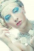 Ice-princess.Christmas Winter Fairy woman.
