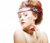 Portrait of beautiful blonde winter snow queen