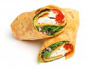 Wrap sandwich with feta cheese and red peppers.