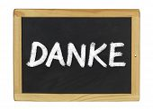 Danke ( Thank you) written on a blackboard