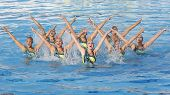 Jul 24 2009; Rome Italy; Team USA competing in the preliminary round of the women's team synchronise