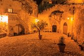 Sassi Of Matera At Night.