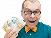 stock photo of money prize  - Businessman with euro money isolated on white background - JPG