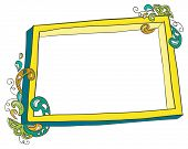 Hand-drawn frame with doodled decorations.