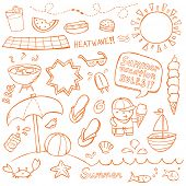 foto of ball cap  - Summer illustrations drawn in a doodled style - JPG
