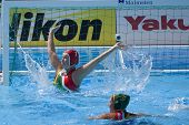 Jul 23 2009; Rome Italy; Hayley Duncan (RSA) defending her goal while competing in the waterpolo match between Canada and South Africa in the 13th Fina World Aquatics Championships