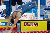 Jul 28 2009; Rome Italy; Rebecca Soni (USA) on her way to winning  the womens 100m breaststroke fina
