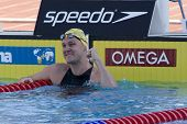 Jul 27 2009; Rome Italy; Brenton Rickard (AUS) celebrates winning   the mens 100m breaststroke final