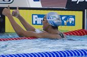 Jul 28 2009; Rome Italy;  Alessia Filippi (ITA) reacts after winning  the womens 1500m freestyle fin