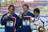 Jul 31 2009; Rome Italy; Ryan Lochte (USA) left Aaron Piersol (USA) centre, and Irie Ryosuke (JPN) d