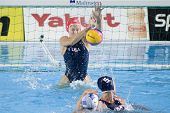 Jul 29 2009; Rome Italy; USA team goalkeeper Elizabeth Armstrong  saves a shot competing in the womens waterpolo semi final match between USA and Greece, USA won the match 8-7