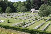 image of headstones  - View across headstones of Buttes New British Cemetery  - JPG