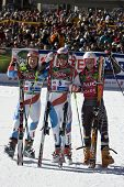 SOELDEN AUSTRIA OCT 26,  Winner Daniel Albrecht 2nd place Didier Cuche 3rd place Ted Ligety in the m
