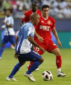 MALAGA, SPAIN. 19/09/2010. Patrick Mtiliga the Malaga defender in action during the La Liga match be