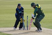 May 03 2009; Southampton Hampshire, C Crowe  is bowled by B Taylor (not pictured) as wicketkeeper T