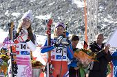 SOELDEN AUSTRIA OCT 25, Lindsey Vonn and Chemmy Alcott competing in the womens giant slalom race at