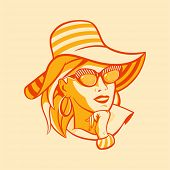 Vintage beach fashionable woman in halftone pattern