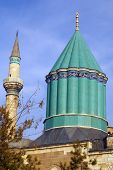 image of rumi  - Tower and minaret on the roof of Mevlana mosque in Konya Turkey - JPG