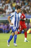 MALAGA, SPAIN. 19/09/2010. Juanmi the Malaga forward in action during the La Liga match between CF M