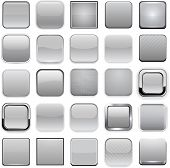 Set of blank grey square buttons for website or app. Vector eps10.