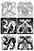 foto of wolf-dog  - Wolves and dogs in celtic ornament for retro design - JPG