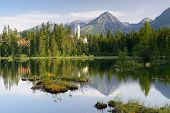 Beautiful lake in a mountain resort. Slovakia, lake Strbske Pleso less