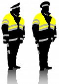 Vector drawing traffic officer in uniform. Property release is attached to the file