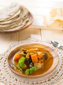 Vegetable curry dhal, chapatti roti or Flat bread and papadom. Indian food on dining table.
