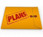 The word Plans on a yellow envelope to illustrate secret covert operations or other classified confi