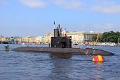 Submarine on the Neva river.Russia