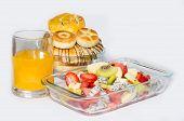 stock photo of fruit platter  - Fresh fruit platter and bread in the kitchen - JPG