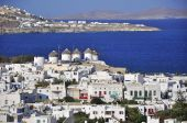 Chora Mykonos on the background of the sea and islands