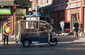 Chinese Auto Rickshaw At Street In Beijing. China